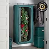 Green Heavy Duty Hanging Christmas Wreath Storage Bag Bin Holds Up To 6 Wreaths 24''W x 24''D x 60''H
