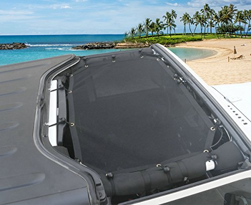 Sunshade Eclipse (Bentolin New Mesh Eclipse Sunshade Top Covers Front Passengers for Jeep Wrangler JK JKU & Unlimited 2/4 Door 2007-2017)