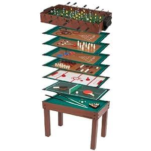 Ultrasport Mesa de juego 12 en 1 Game Zone, mesa de juego infantil con futbolín, billar, ajedrez y mucho más; mesa multijuegos de madera / metal, incluye todos los accesorios para todos los juegos de la mesa