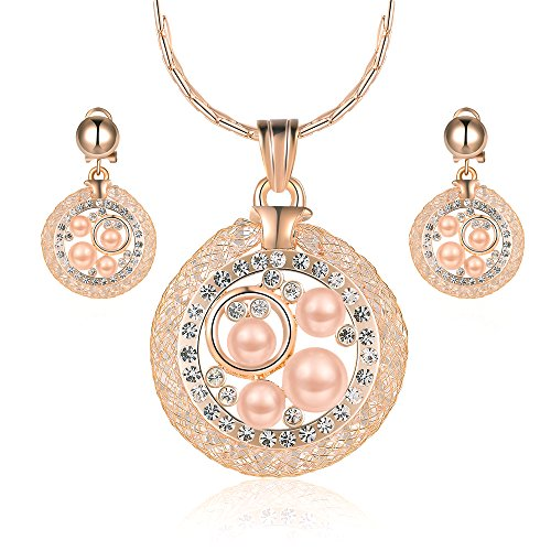 Mytys Rose Gold Spiral Mesh Wire Pearl Crystal Drop Pendant Necklace Earrings Stud Jewelry Set -