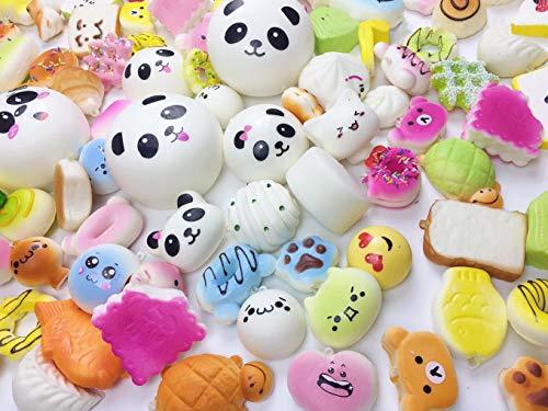 Originnt 30 Pcs Kawaii Squishies Slow Rising Jumbo Mini Random Cake Bread Panda Bun with Phone Straps Kids Pretend Play ibloom squishy Charms]()