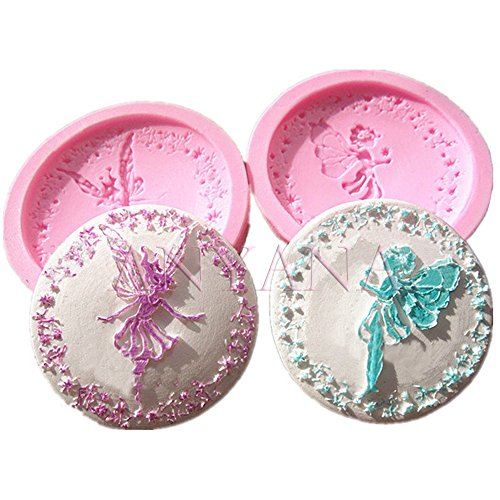 Anyana Tinkerbell fairy sugar edible lace Candy Silicone Mold for Sugarcraft, Cake Decoration, Cupcake Topper, Fondant, Jewelry, Polymer Clay, Crafting Projects, Non stick easy to use 2in set ()