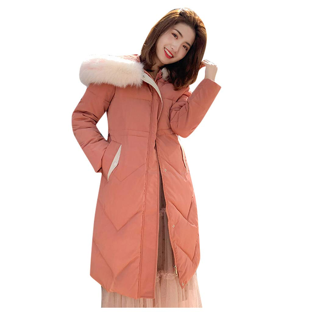 Allywit- Women Winter Warm Coat Parkas Overcoat Faux Fur Hooded Outwear Puffer Down Jacket Orange by Allywit- Women
