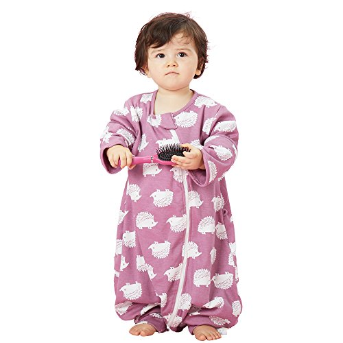 (COVATOR Early Walker Sleeping Bag with Feet,Toddler Sleeping Sack, Double Layer 100% Cotton Jersey, Detachable Sleeve Wearable Blanket Spring & Autumn, Purple Hedgehog, 90cm/35.4 inches)