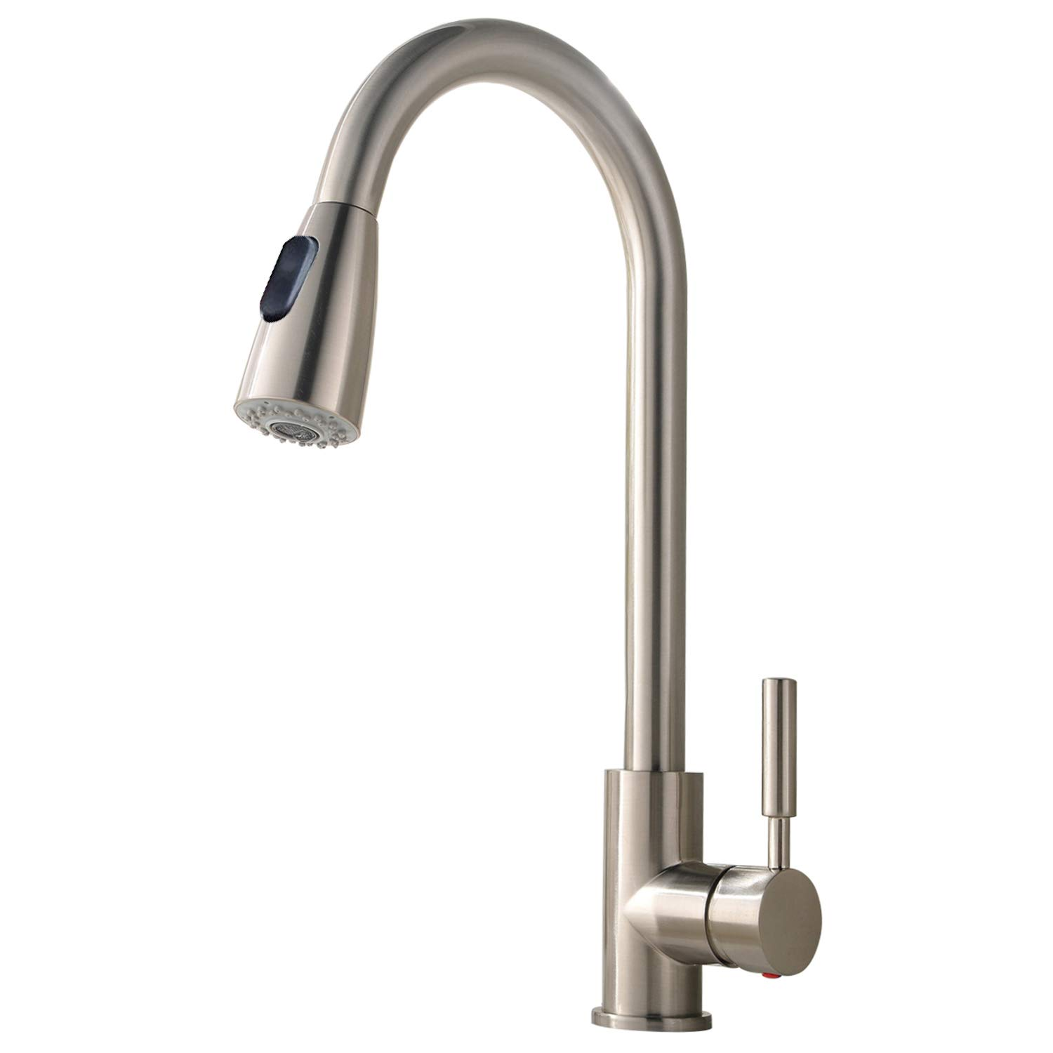 Comllen Best Commercial Stainless Steel Single Handle Single Hole Brushed Nickel Pull Out Spray Kitchen Faucet, Pull Down Kitchen Sink Faucet