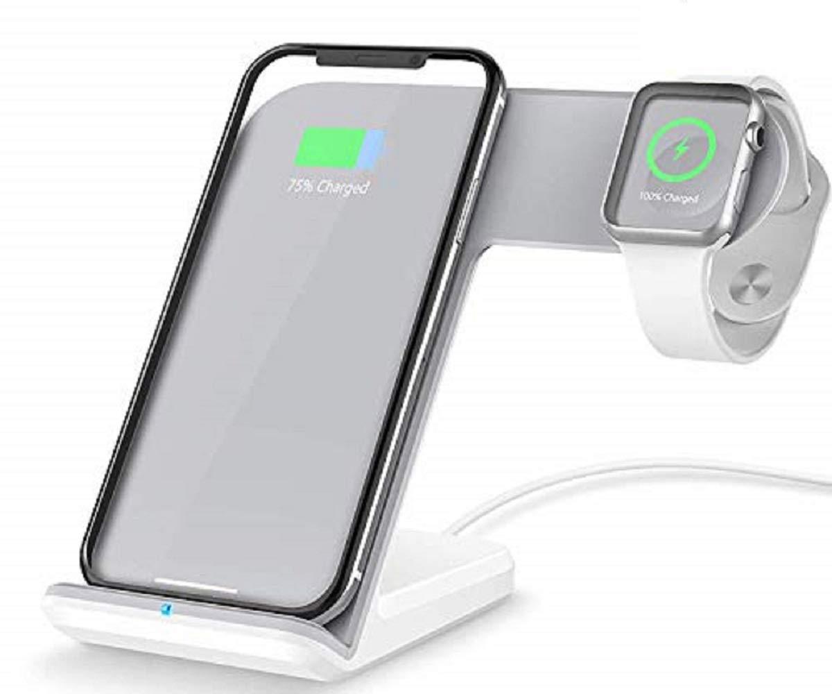 Bysionics Wireless Charger,2 in 1 Fast Qi Phone Wireless Charging Stand & Wireless Charging Dock Compatible for Apple iWatch Series 4/3/2/1 (White)