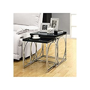 Monarch Specialties Nesting Table Set, Glossy Black/Chrome Metal, Set Of 2