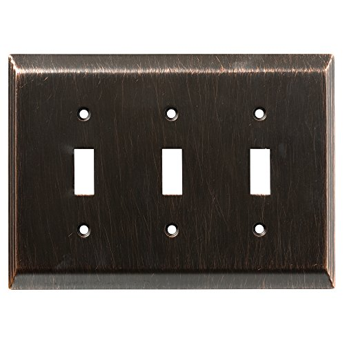 - Franklin Brass 126410 Stately Triple Toggle Switch Wall Plate / Switch Plate / Cover, Venetian Bronze
