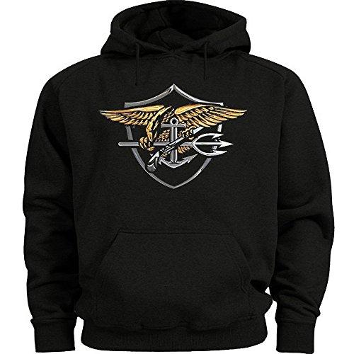 Lucky Ride US Navy Seals Sweatshirt Black Hoodie USNS Medium