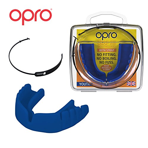 OPRO Mouthguard Snap-Fit Gum Shield + Strap for Ball, Combat and Stick Sports -18 Month Warranty (Adult and Kids Sizes) (Electric Blue, Kids)