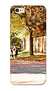 Fashion PC Case Cover For Apple Iphone 4/4S Border Collie On The Autumn Road Lovers