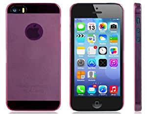 Ultra-delgada caja de plástico transparente para iPhone 5S / 5 (rosa)