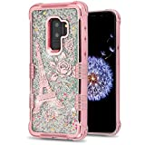 MyBat Cell Phone Case for Samsung Galaxy S9 Plus - Rose Gold Eiffel Tower/Silver Sparkles
