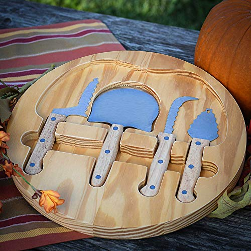 NEW 4 Piece Pumpkin Carving Kit with Wooden Case: (Plus Pumpkin Carving Stencil E-Book) Sturdy Stainless Steel and Wood Handled Carving Tools | Crafted for Safety and Efficiency for Halloween Memories -