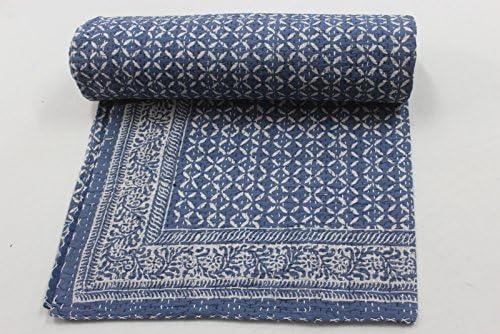 craftofpinkcity acolchado azul índigo algodón Kantha cama propagación, reina algodón acolchado manta para cama de ...