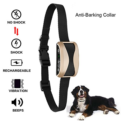 No Bark Collar, Alotm Rechargeable Dog Barking Control Training Collar for Small, Medium and Large Dogs,Beep / Vibration / Safe Shock or No Sensitivity (7 Adjustable Levels)