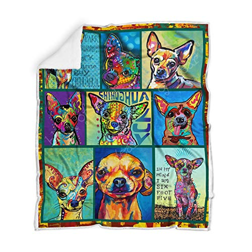 (Geembi Chihuahua Sofa Blanket TH657, Youth Sherpa Fleece Throw Blankets Bedding Blanket Reversible -Decorative Blanketed - Artwork Sherpa Blanket - Best Gift 2019)