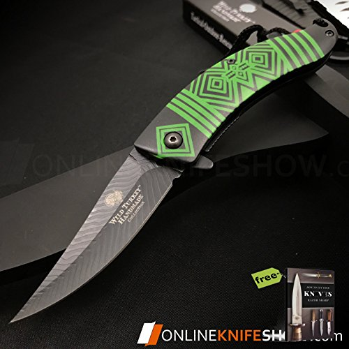 """8.5"""" NATIVE AMERICAN INDIAN Spring Assisted Open Pocket Folding Knife Damascus Feather s + Free eBook by SURVIVAL STEEL"""