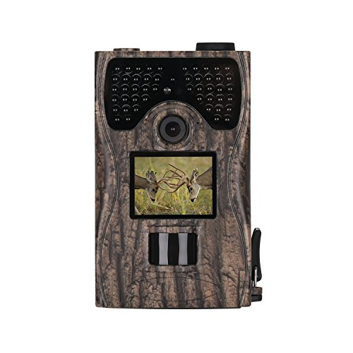 King Wisdom Camera 12MP 1080P Full HD Game & Hunting Camera with 48pcs IR LEDs Night Vision up to 65ft/20m IP55 Waterproof 0.2s-0.6s Trigger Speed for Wildlife Observation and Security