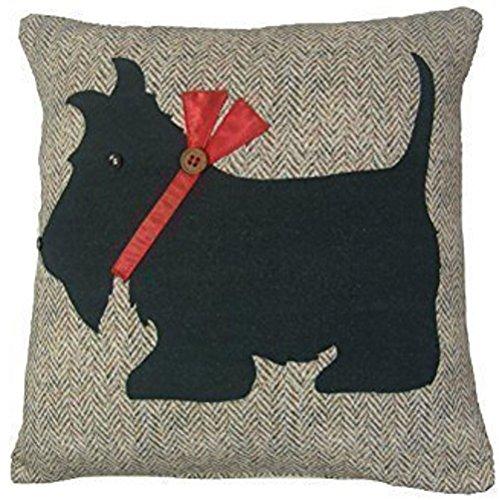2 X SCOTTIE DOG HERRINGBONE EMBROIDERED COTTON BLACK BEIGE 18