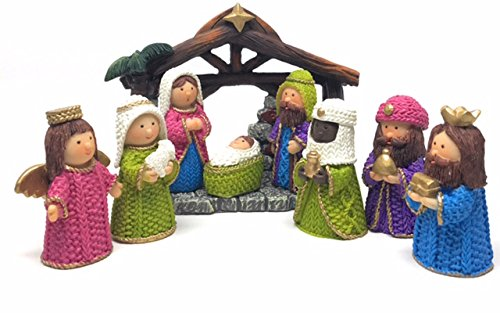 BEST DEAL Nativity Set for Kids - Hand Painted 9 Piece Nativity Scene - Miniature Table Top Nativity Set Perfect for Children