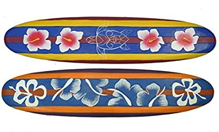 2 Deco Surfboards 100cm In Tiki Hawaii Style With Flowers Motif