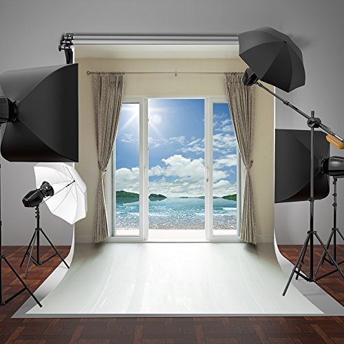 SUSU 1.5x2.2m Indoor Bedroom Photography Backdrops Glass Window White Curtain Photo Background Beach Backdrop Without Wrinkles