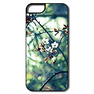 IPhone 5S Cases, Spring White Flowers Cases For IPhone 5/5S - White/black Hard Plastic Kimberly Kurzendoerfer