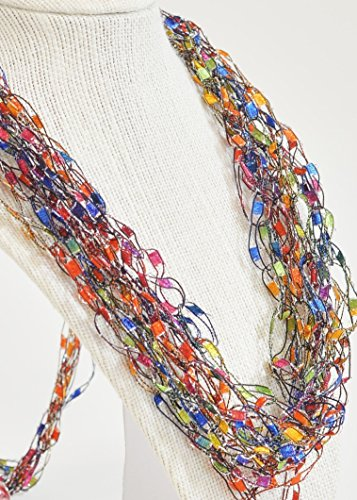 CROCHETLACES Adjustable Soft LIGHTWEIGHT Crochet Yarn Necklace Scarf Gift Idea- Balloons Multicolor