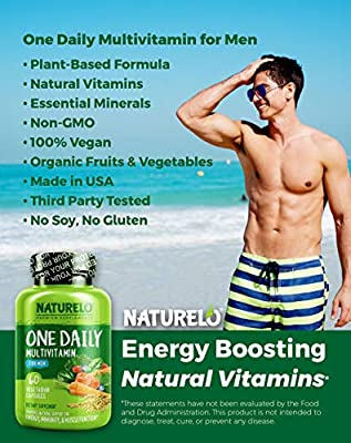 NATURELO One Daily Multivitamin for Men - with Whole Food Vitamins - Organic Extracts - Natural Supplement - Best for Energy, General Health - Non-GMO - 60 Capsules | 2 Month Supply