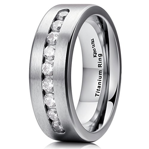 Jewelry Titanium Ring (King Will GEM 7mm Titanium Wedding Band Ring with Cubic Zirconia for Men Women Comfort Fit(10))