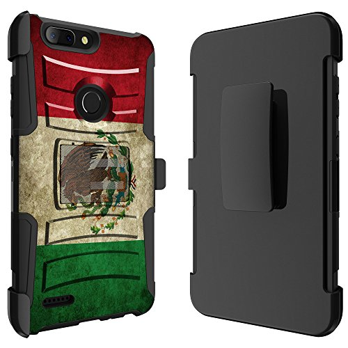 For ZTE Blade Z Max / ZTE Blade Zmax Pro 2 Z982 / ZTE Sequoia Ituffy [Impact Resistance] Dual Layer [Belt Clip] Holster Combo [KickStand] Phone Case Mexican Flag (Flag Plastic Hard Case)