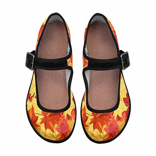 Multi InterestPrint Jane Comfort Walking Shoes Flats Mary Womens 14 Casual CqqT86