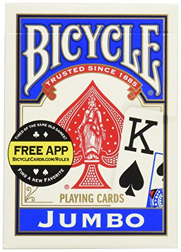 Bicycle Poker Size Jumbo Index Playing Cards (Blue or Red) (Bicycle Clear Playing Cards)