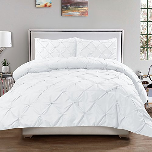 Sweet Home Collection 3 Piece Luxury Pinch Pleat Pintuck Fashion Duvet Set, Queen, White (White Set Comforter Pintuck)