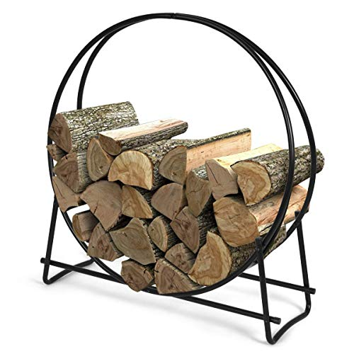 Goplus Firewood Log Hoop, Tubular Steel Wood Storage Rack Holder for Indoor Outdoor Fireplace Pit 41 inch