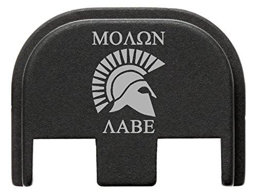 for Glock Gen 5 Back Plate 9mm 17 19 19x 26 34 Black NDZ Molon Labe Helmet 1 (Glock Parts Custom)