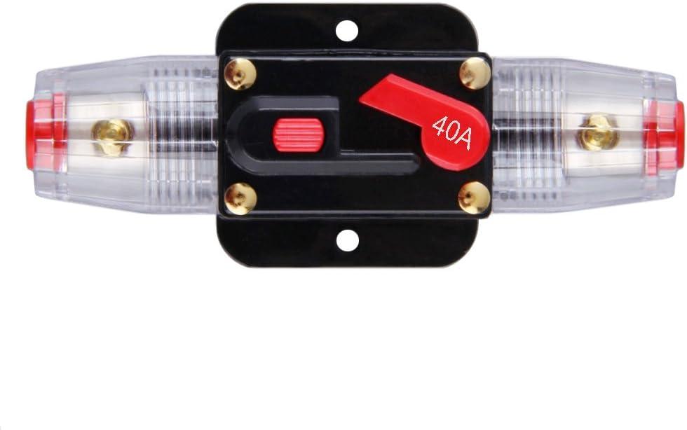 JIAKUPA 12V-24V DC 40A Circuit Breaker Fuse Inverter Fuse Holder with Manual Reset for Trolling Motor Auto Car Marine Boat Bike Stereo Audio
