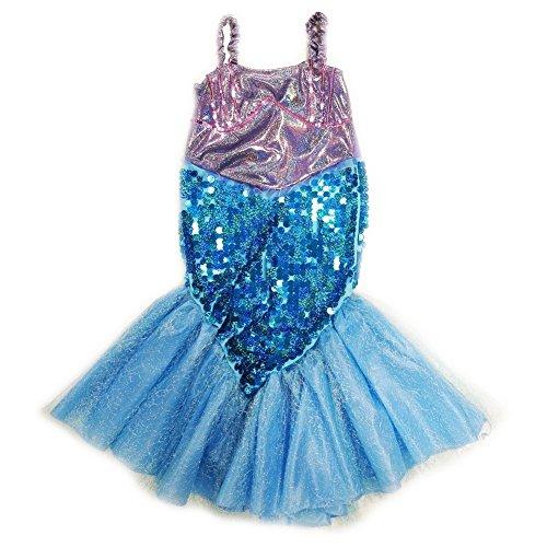 Wenchoice Little Girls Purple Blue Sequin Halloween Mermaid Dress M (2-4)
