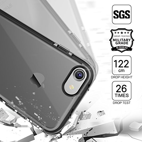 Coque iPhone 7 Plus ROCK Pinhen i7 Plus Cover Case Coque Housse Etui Shock-Absorption Bumper et Anti-Scratch Effacer Back TPU Silicone pour Apple iPhone 7 Plus 5.5 Inch (i7 Plus Black)