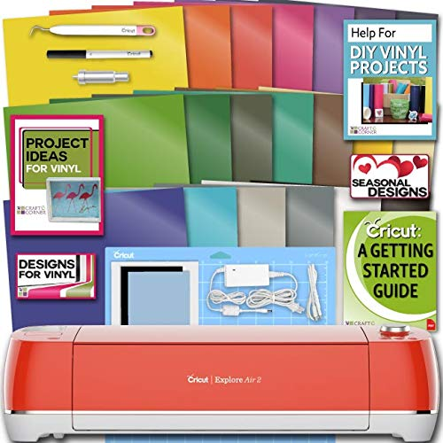 Cricut Explore Air 2 Machine Bundle 20 Sheets Vibrant Vinyl Pack Tool Designs Guide