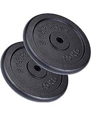 ScSPORTS Halterschijven set 30 kg - Gietijzer - 30 mm - 2 x15 kg – Gewichten