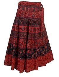 Gift for Women Block Print Skirt India Clothing (Red)