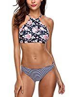 3d9ad56059b54 Vegatos Women Floral High Neck Bikini Set Two Piece Cross Back Padded  Swimsuit S