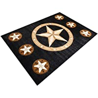 Champion Rugs Texas Star Western Black Area Rug #CR85 (8 Feet X 10 Feet)