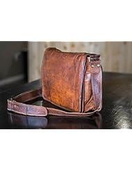 Leather Full Flap Messenger Handmade Bag Laptop Bag Satchel Bag Padded Messenger Bag School Bag 15X11X4 Inches...