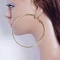 ERAWAN Fashion Women/Girls Gold Silver Metal Smooth Big Large Hoop Earrings Jewelry EW sakcharn (10cm, Gold)