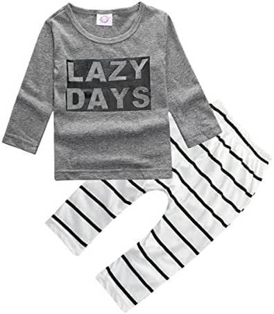 ZhuanNian Baby Boys 2pcs Striped Long Sleeve Tops Sweatsuit Pants Leggings Outfit Set