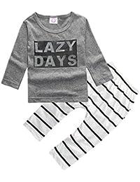 Baby Boys 2pcs rayas manga larga Tops sweatsuit pantalones polainas Outfit Set