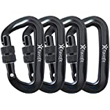 Favofit 12KN Heavy Duty Aluminium Carabiners (Weight Limit at 2697 lbs Each), Super Durable Screwgate Locking Carabiner Clips for Hammock, Camping, Hiking, Outdoor, Keychain etc.